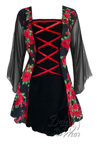 Dare To Wear Victorian Gothic Women's Plus Size Mandarin Corset Top Red Rose