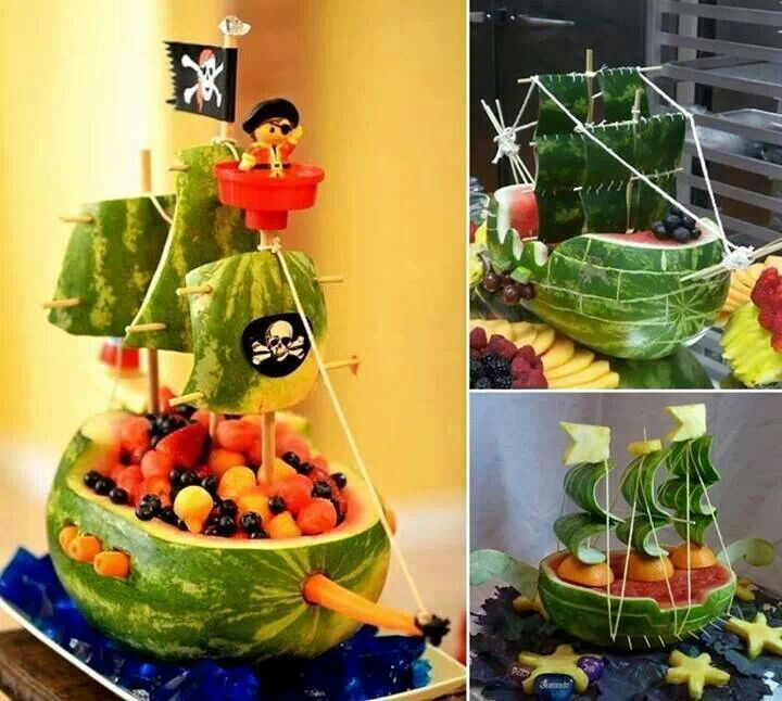 Fruit pirate ship. Great for a Jake and the neverland pirates party!!