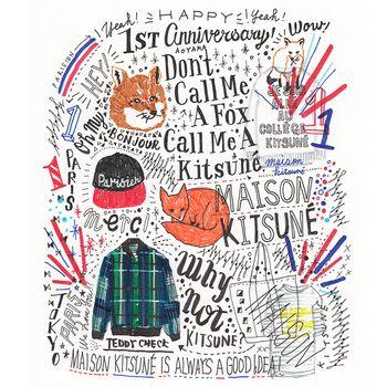 MAISON KITSUNÉ 1周年を記念して描かれたイラスト。イラストだけでなく、手書きのロゴも様々なバリエーションがあって可愛いですね♪