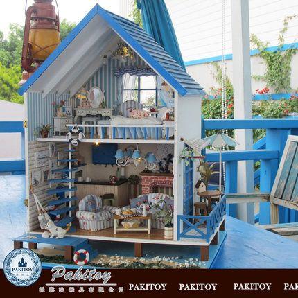 Ци Дай коттедж пирог DIY игрушки ручной работы Любовь Эгейское большая модель вилла дом собран дом подарок
