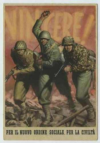 """Italian WW2 """"WIN! For the new social order, for civilization"""" Japanese, Italian and German soldiers charging."""