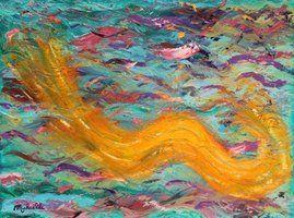 Tableau abstrait à l'huile sur toile - Fluidité - 30X40 cm - Peinture de Michaëlle Liefooghe, artiste-peintre