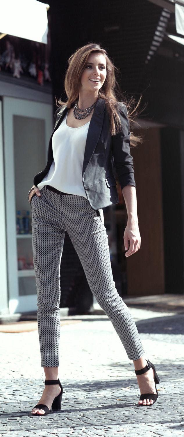 Black Blazer With Silk Top And Grey Check Pants Simple Chic Work Coup Women Classic Short Pant Outfit