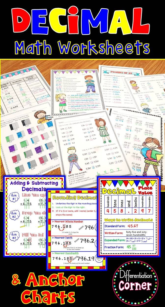 Decimals to the thousandths place worksheets no prep printables This resource includes base 10 representations, comparing, rounding, adding, subtracting, expanded form, decimals to fractions, and much more! Answer Keys are included for each worksheet.  This resource will help your students understand decimals at a deeper level with full color anchor charts in full size and student size, they also come in black and white versions to save ink. These were created to look broken up and not quite…