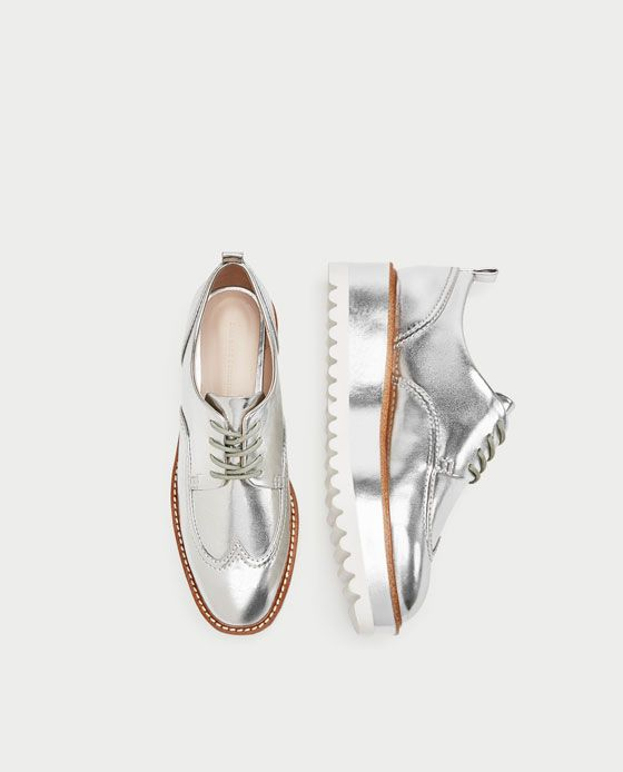 Image 1 of SILVER TRACK SOLE BROGUES from Zara