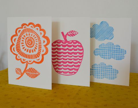 Vintage inspiration - a set of 3 lino print cards, by Meadowland Prints via Folksy, £5.00