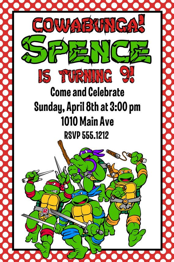 Teenage Mutant Ninja Turtles Birthday Party Invitation: Printable ...