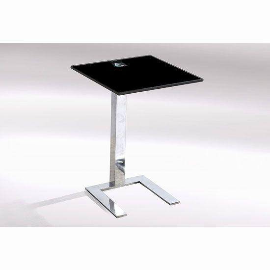 Kia Side Lamp Table In Black Glass Top