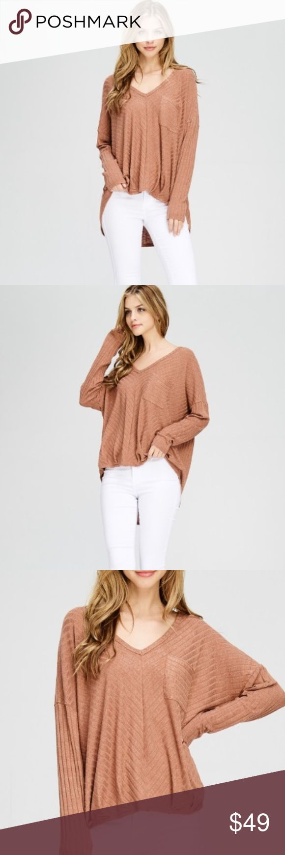 """NEW Mariah Top A lightweight ribbed knit top features V-neckline & front pocket.  * Hand wash cold * Made in Guatemala * 95% Rayon 5% Spandex  Size + Fit - Model is wearing size small - Measurements provided from a size small - Full Length:28"""" Chest:27"""" Shoulder:29"""" Sleeve length:15"""" Jubis Boutique Tops"""