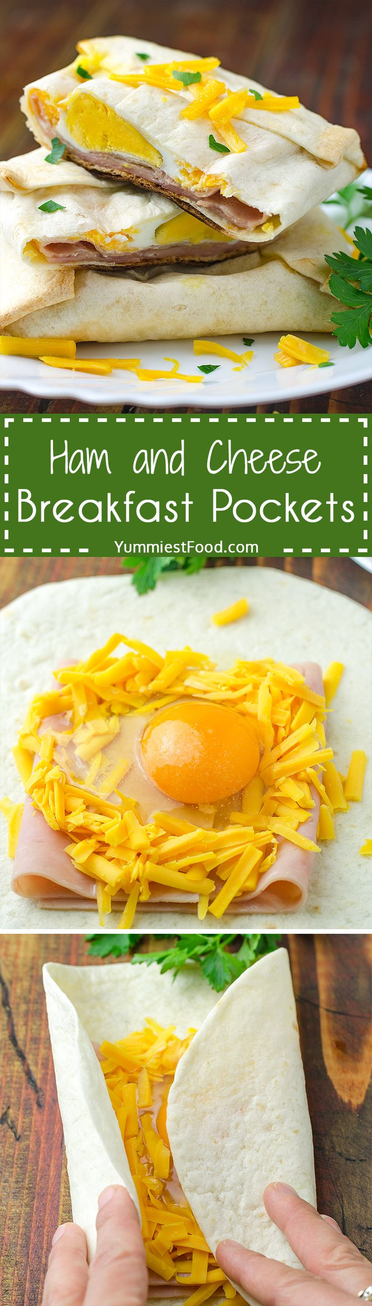 Easy Ham and Cheese Breakfast Pockets - Simple ingredients that you likely have in your kitchen can make this fabulous friendly breakfast. This will be everyone's weekend breakfast of choice it is loaded with ham, cheese and egg. Great simple breakfast recipe!