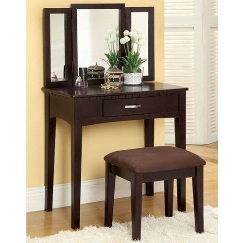 Wood Finish Makeup Vanity Table Set with Stool. Matches my jewelry armoire.