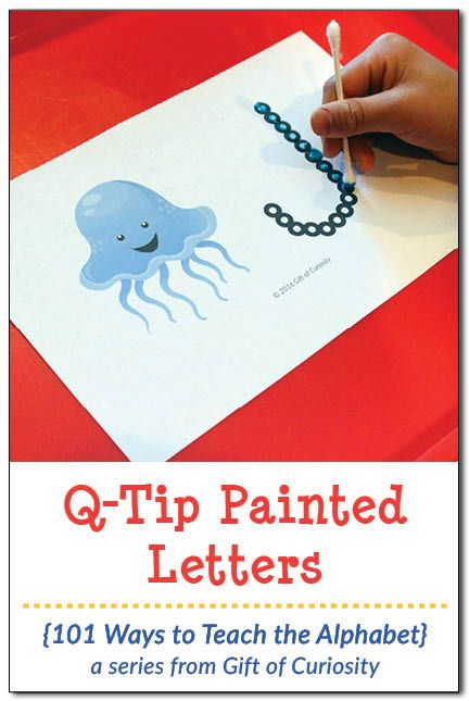 Q-Tip Painted Letters Fine Motor Activity: Use this free printable to help kids learn their letters and develop their fine motor skills at the same time. || Gift of Curiosity