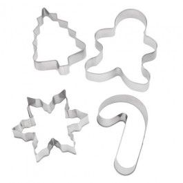 A necessity for Christmas baking with the kids, 4 cute cutters that are perfect for biscuits.  Assorted shapes, stainless steel.
