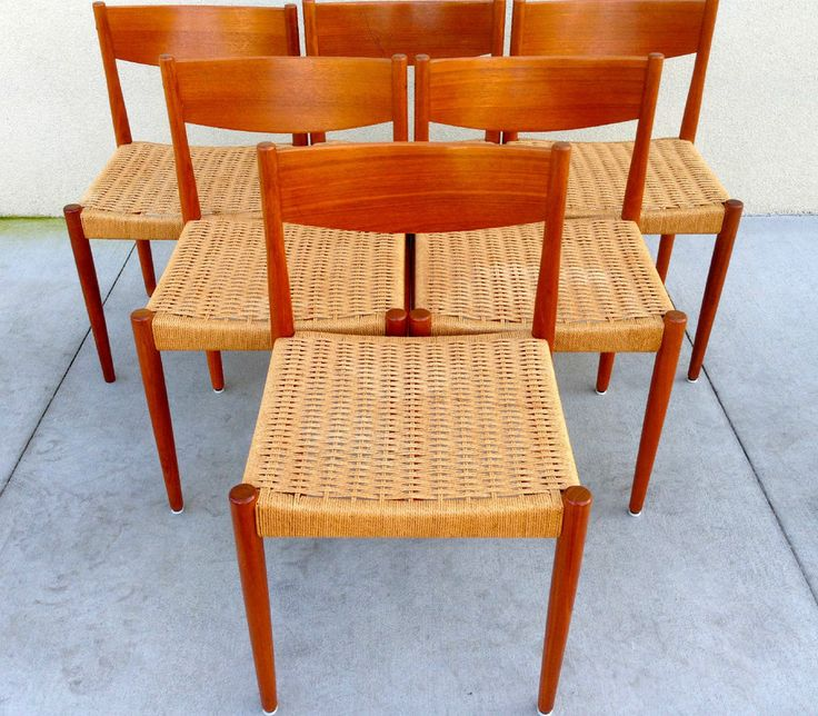 6 Mid Century Modern Woven Cord Teak Dining Chairs By