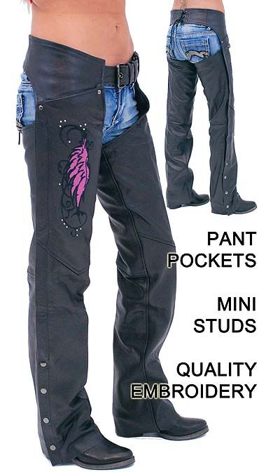 Pink Wings Leather Chaps for Women with Pant Pockets
