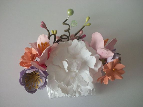 Bridal floral hair comb paper bridal flowers for by 2CLVR4UDESIGNS, $45.00