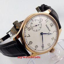 44mm parnis white dial blue hands 6497 hand winding mens wrist watch B220(China (Mainland))