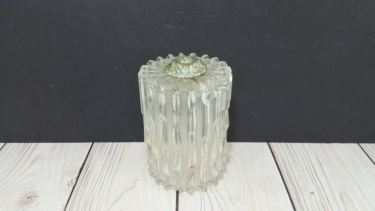Vintage Clear Textured Glass Ceiling Light Cover by maliasmark on Etsy