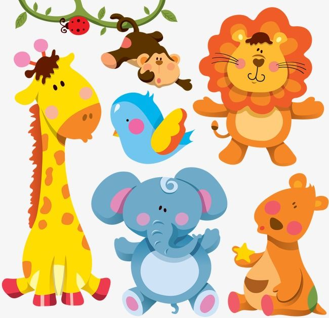 жираф,слон,птица,обезьяна,лев,кенгуру
