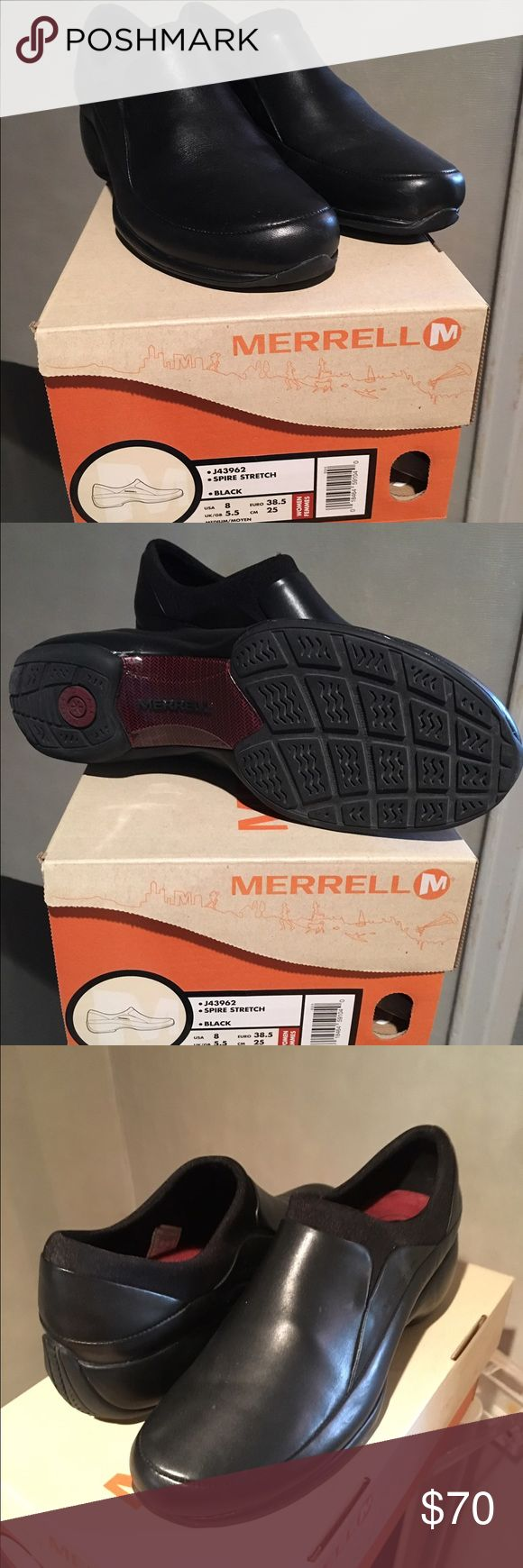 Merrill Spire Stretch Black Women's 8M EUC Waterproof leather/neoprene upper & rubber traction sole, extremely gently worn.  Merrell Shoes Flats & Loafers