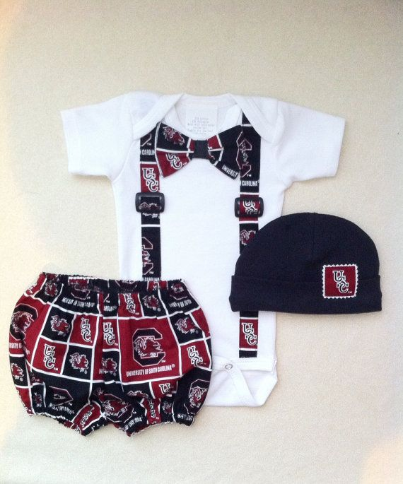 USC Baby Football Outfit Gamecock Baby Outift Bow by solcreator, $55.00