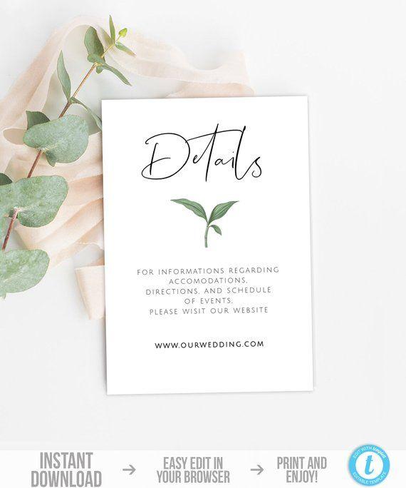 Greenery Details Card Template Botanical Wedding Details Card Etsy Wedding Info Card Wedding Details Card Wedding Invitation Card Design