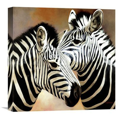 "Global Gallery 'Zebra Pair' by Arcobaleno Painting Print on Wrapped Canvas Size: 18"" H x 18"" W x 1.5"" D"