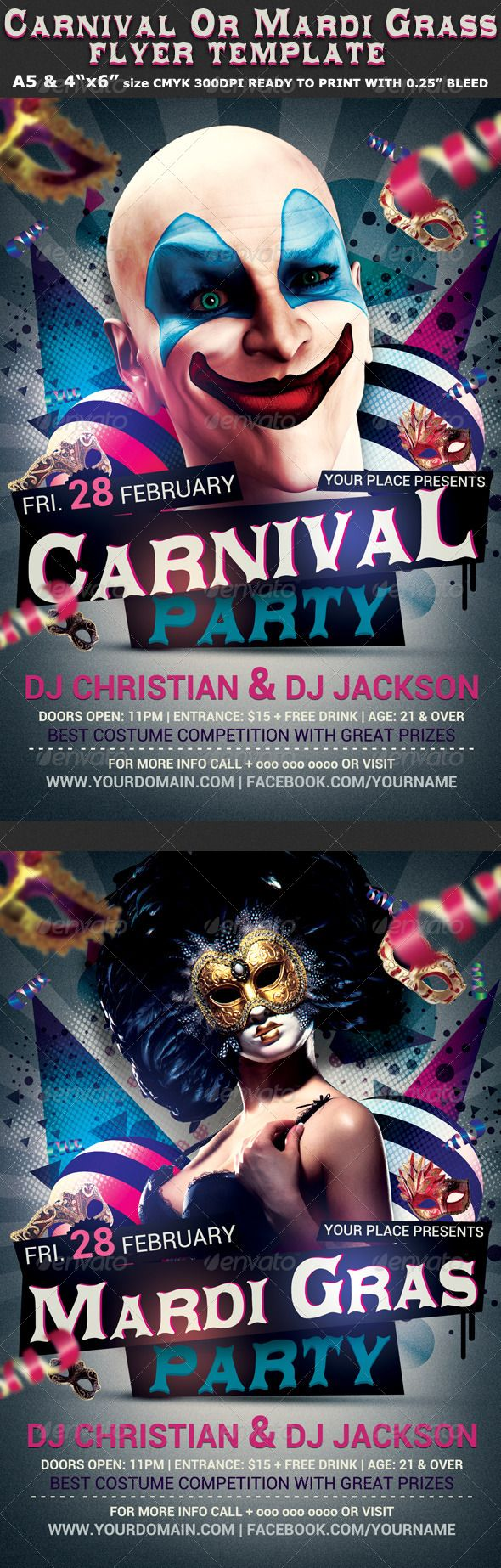 """Carnival n Mardi Grass Party Flyer Template is very modern psd flyer that will give the perfect promotion for your upcoming event or nightclub party!All text is Editable and the elements are is separate layers!  4 PSD files – A5, 4""""x6"""" with 0.3mm bleed (2 for Carnival and 2 for Mardi Grass)  Clearly labeled folders and layers  CMYK – 300dpi – Ready to print with guides"""