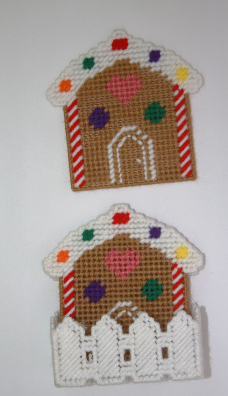 Plastic Canvas-Gingerbread House Coaster Set