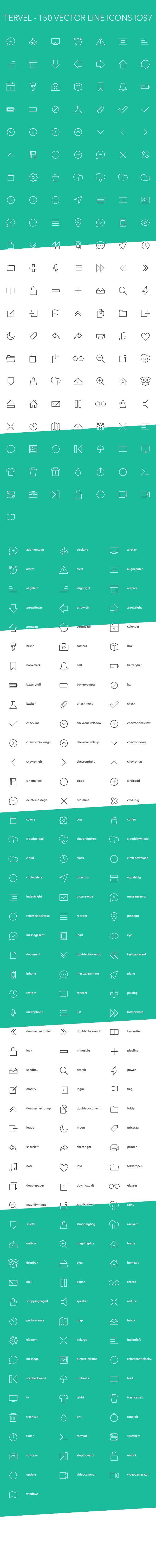 Tervel - 150 Vector Line Icons iOS7 by Nikolay Kolev, via Behance