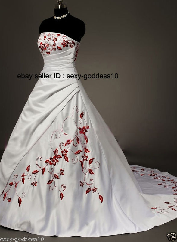 In Stock New White Ivory Bridal Wedding Dresses Size 6 8 10 12 14 16 Real Photo