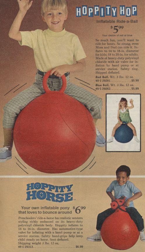 My grandparents gave us Hippity Hop balls and we LOVED them! So much fun bouncing through our house and down the step into the sunken livingroom!  Google Image Result for http://webdebris.com/70s/wp-content/uploads/2011/03/hippity_hop.jpg