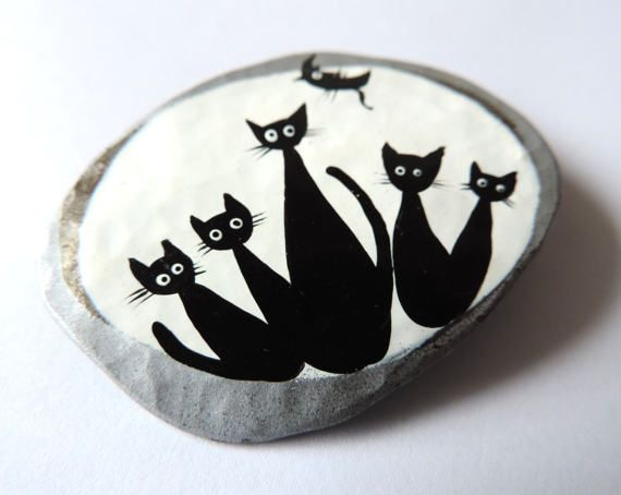 Cat brooch hand painted metal dress by TransylvanianTrove on Etsy