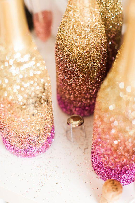 pink ombre glitter wedding decor ideas / http://www.deerpearlflowers.com/glitter-wedding-ideas-and-themes/2/
