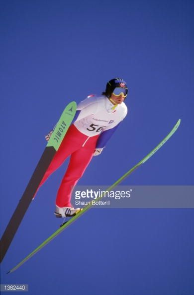 Espen Bredesen of Norway makes his jump in the Men's 120K Ski Jump event on February 201994 during the 1994 Lillehammer Winter Olympic Games in...