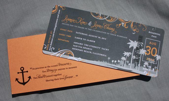 Newport Beach Cruise Ticket Wedding Invites by emDOTzee Designs