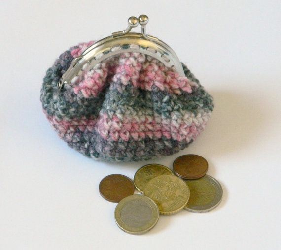 Grey crochet coin purse lillac coin purse with metal by craftysou, $15.00