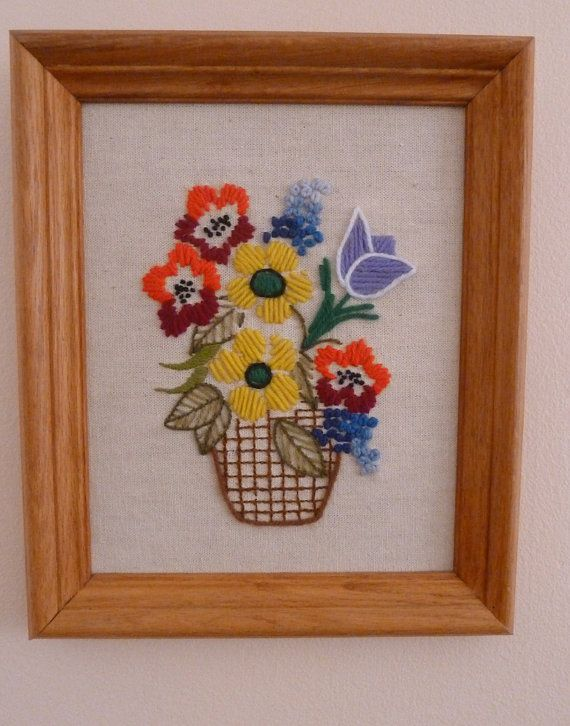 Vintage Crewel Embroidery Basket of Flowers on Linen Framed in Light Wood 10x12 on Etsy, $15.00