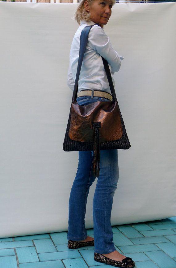 bronze metallic leather handbag crossbody pattern by vquadroitaly