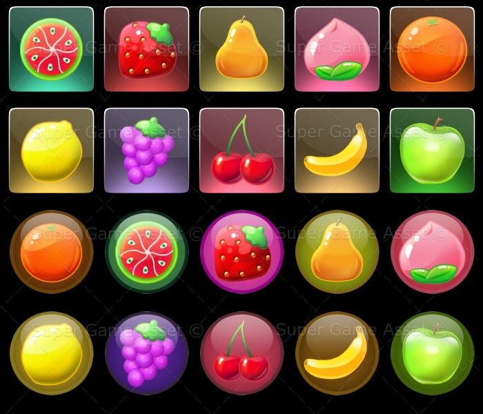 Fruit Lollies - 10 delicious looking fruits with various backgrounds to mix and match, great for puzzle game, mobile casual games. Use them to make match 3 games like bejewelled or candy crash like games!