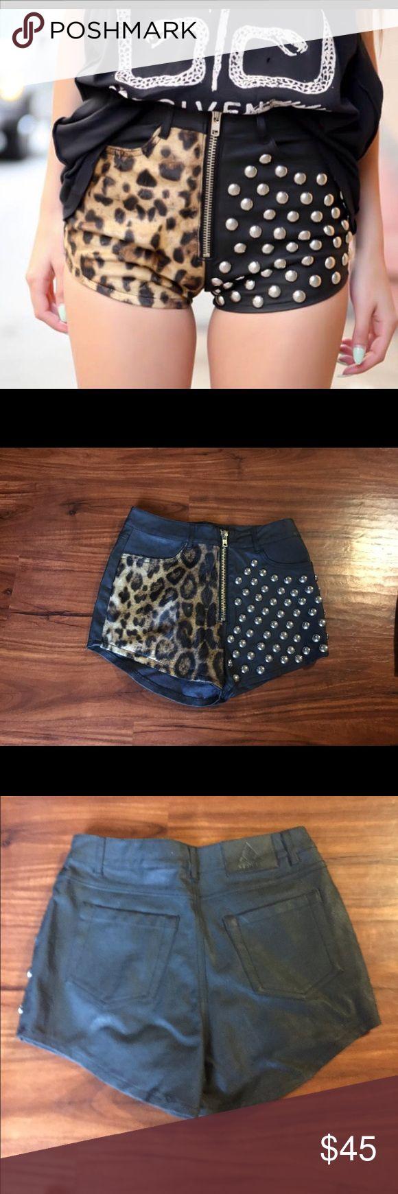 UNIF Leopard Leather Shorts UNIF Leopard Leather Shorts Size: 25 UNIF Shorts