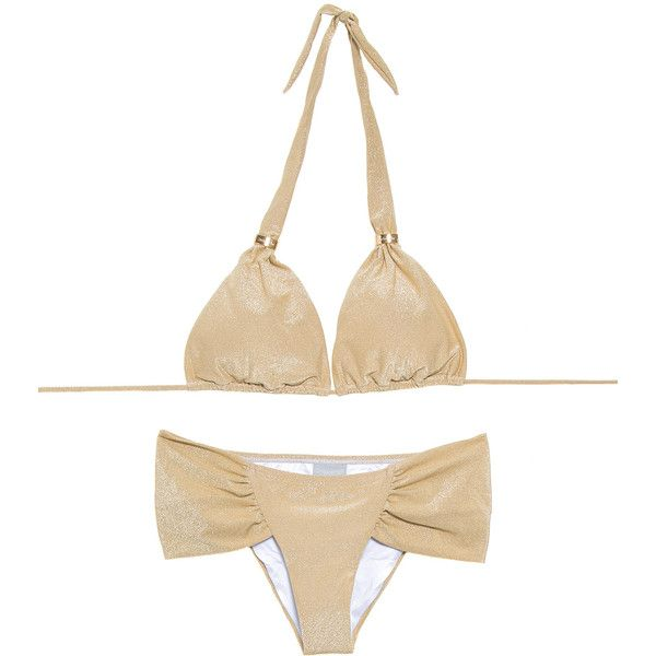 Ondademar Women's swimwear Gold Triangle Bikini, Wide-sided Bottom -... (1.415 NOK) ❤ liked on Polyvore