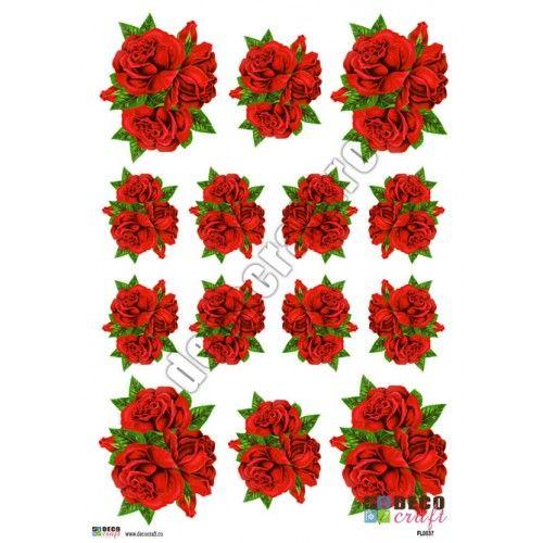 Hartie Decoupage Clasica : Hartie decoupage A4 - Buchet rosu