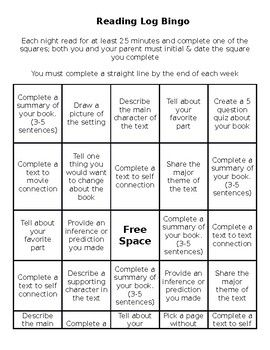 Use this fun bingo reading log for student homework or in reading centers.  Students have to make a straight line by the end of the week.  Challenge students to get a black out for extra points.  The sky's the limit. Students enjoy it because they get to decide what they complete each night.