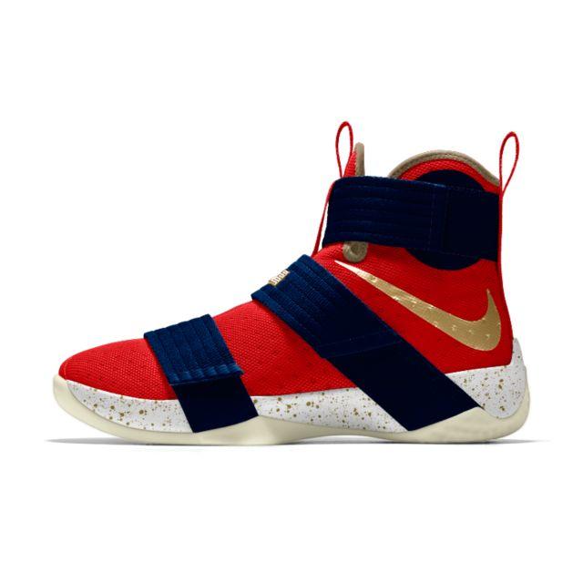 brand new b26b0 3bcbb ... blanco Entrenador Zapatos Venta caliente Chaussure de basketball Nike  Zoom LeBron Soldier 10 iD pour Homme ...