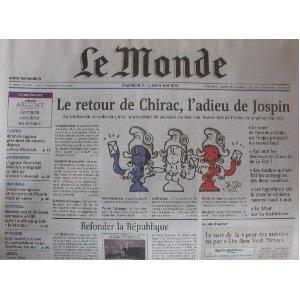 Le Monde (n°17814) du 05&06/05/2002 - Présidentielle -Jacques Chirac - Lionel Jospin - Jean-Marie Le Pen - Vivendi Universal - Olympique de Marseille - Ecurie Prost Grand Prix - Henri Dutilleux - Jean-Claude Gallotta - Plantu -... [Journal mis en vente par Presse-Mémoire]