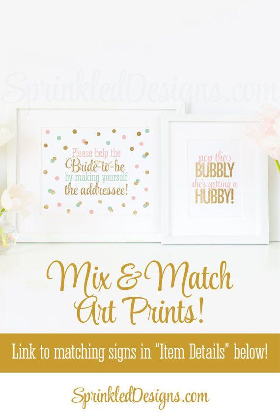 Bridal Shower Address an Envelope Sign - Envelope Addressing Station - Blush Pink Mint Gold Glitter Printable Wedding Shower Decorations by SprinkledDesign on Etsy