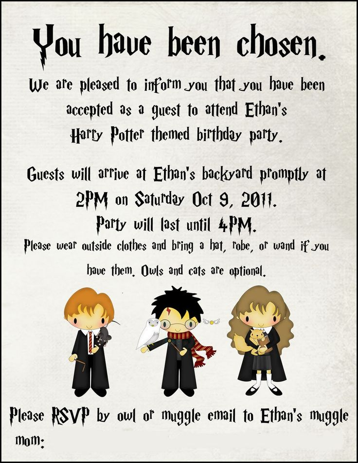 Best 25 Harry potter birthday ideas – Harry Potter Party Invitation