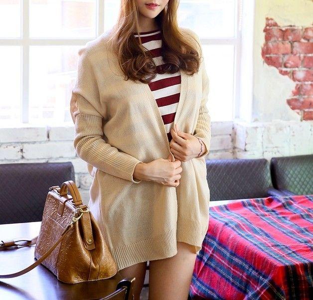 cardigan oversize loose fit -   beige