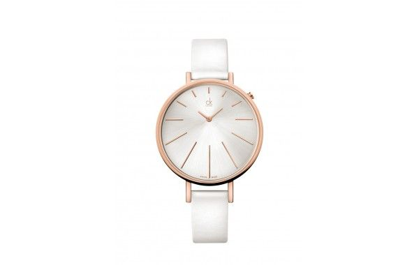 Very funky CK watch! Featuring a rose gold PVD case, with silver dial, on a white leather strap.